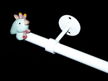 1.2 - 2m Extendable Eyelet Ceiling Curtain Pole with GIRAFFE Finials